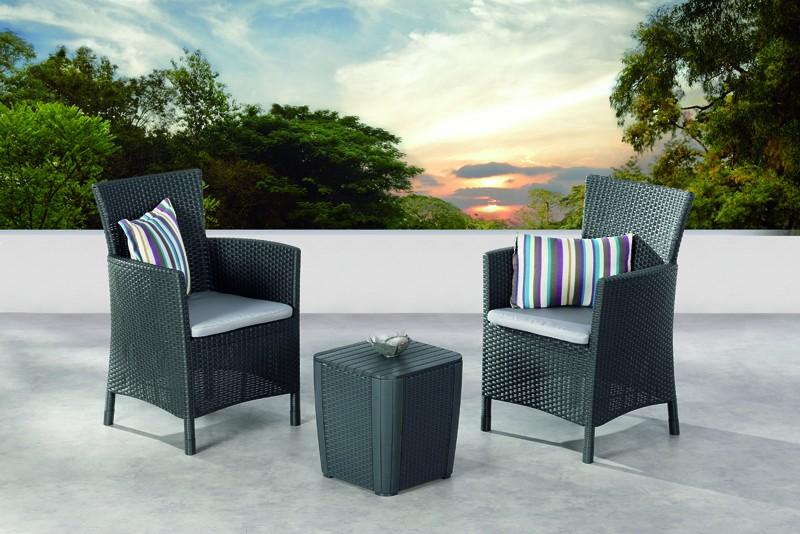 Best Balkon-Set Napoli 2 Sessel inkl. Polster und Beistelltisch, graphit
