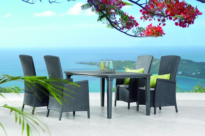 Best Essgruppe Capri-Genua 4 Relaxsessel inkl. Polster und Tisch 165x94cm grahit