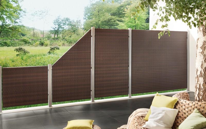 TraumGarten Sichtschutzzaun Weave Anschluss mocca - 88 x 178 auf 88 cm