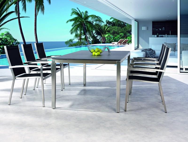 Best Tisch Marbella 210x100cm Edelstahl/Ardesia