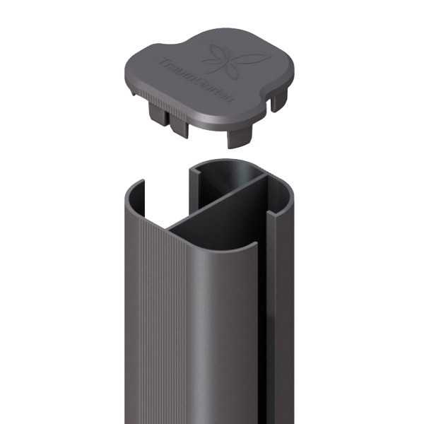TraumGarten Zaunpfosten System Eck-Steckpfosten Set anthrazit zum Erdverbau - 7 x 7 x 240 cm