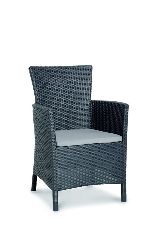 Best Gartenmöbel 9-teilig Kunststoff-Garnitur-Set im Rattan Look Dining-Sessel Napoli+ Gartentisch Genua graphit/hellgrau