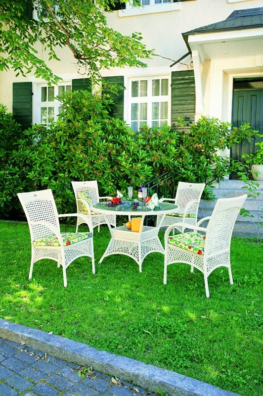 Best Gartenmöbelset Polyrattangarntiur Madelene Geflecht 5-teilig weiß