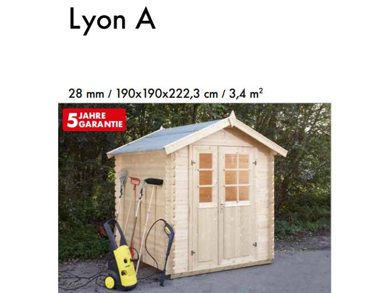 Wolff Finnhaus 28mm Holz-Gartenhaus Lyon A mit Satteldach - naturbelassen