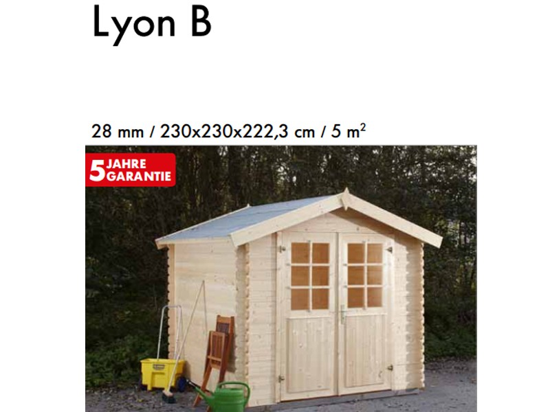 Wolff Finnhaus 28mm Holz-Gartenhaus Lyon B mit Satteldach - naturbelassen