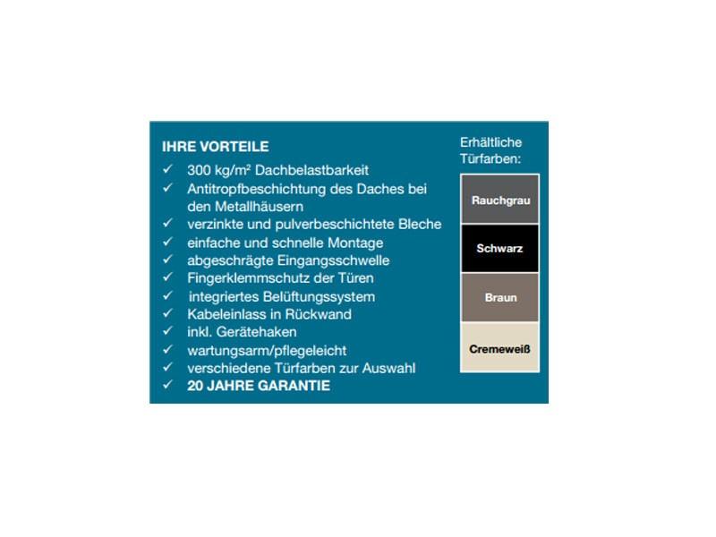 Wolff Finnhaus Metall-Gartenhaus Sapporo 2215 rauchgrau, o.Regale u. Boden, m. Tür Wandmaß: 220 x 159