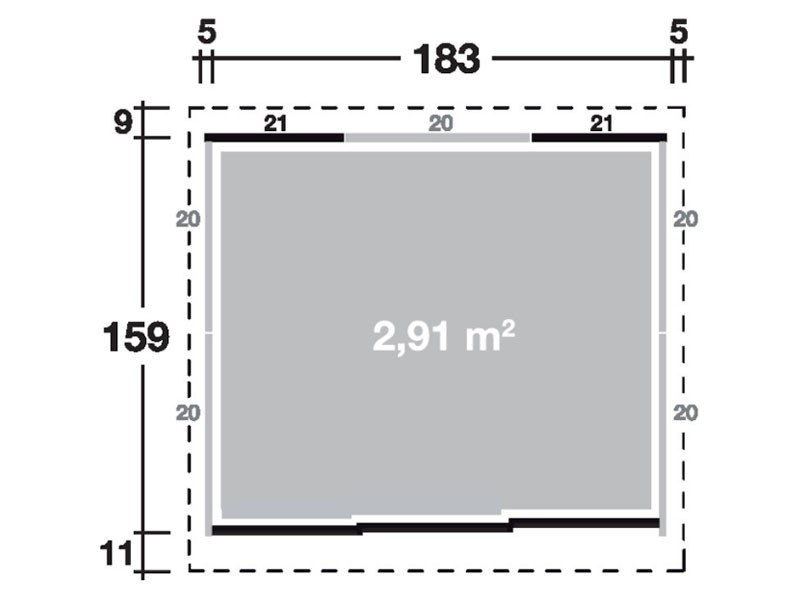 Wolff Finnhaus Metall-Gartenhaus Yokohama Korpus rauchgrau, komplett, m. Tür Wandmaß: 183,2 x 159
