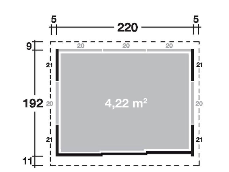 Wolff Finnhaus Metall-Gartenhaus Sapporo 2219 Korpus rauchgrau, komplett, m. Tür rauchgrau Wandmaß: 220 x 192,2