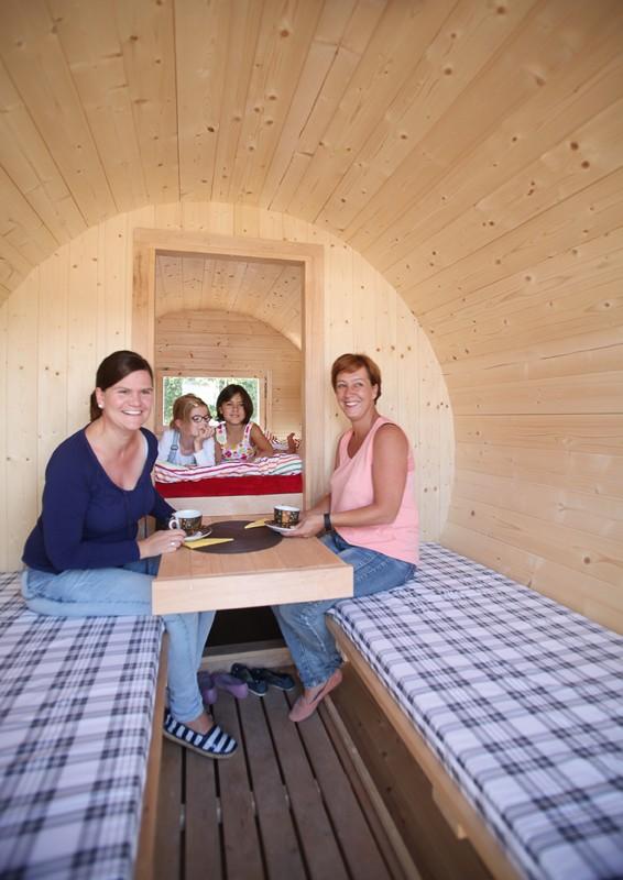 Wolff Finnhaus Holz Campingfass L: 330cm - 2-Raum - vormontiert - inkl. schwarze Dachschindeln