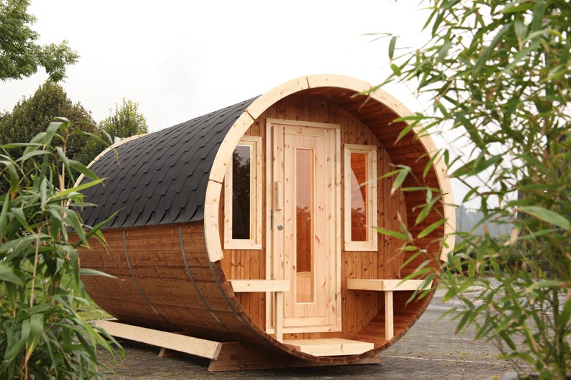 Wolff Finnhaus Holz Campingfass L: 480cm - 2-Raum - vormontiert - inkl. schwarze Dachschindeln