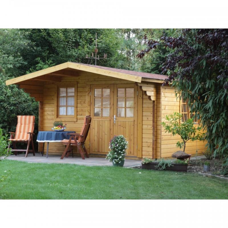 Wolff Finnhaus Holz-Gartenhaus 70mm Blockbohlenhaus  Nordkap 70-B XL (extra hohe Türe)