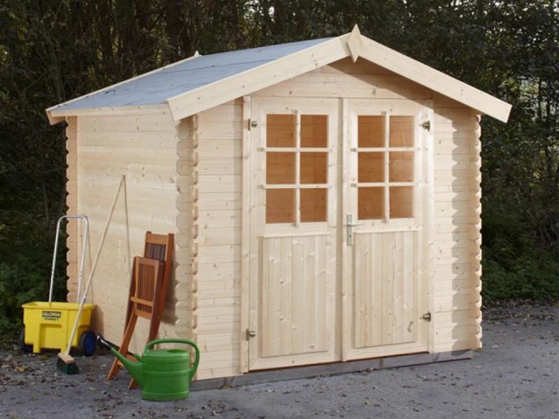 Wolff Finnhaus 28mm Holz-Gartenhaus Lyon C mit Satteldach - naturbelassen