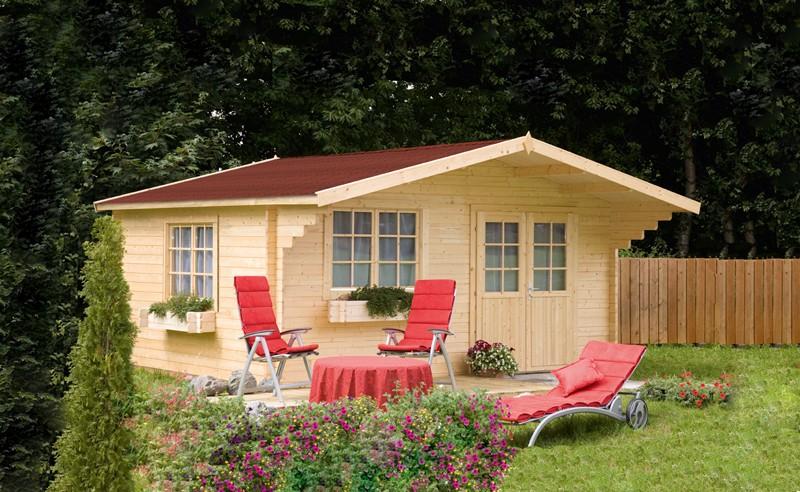 Wolff Finnhaus Holz-Gartenhaus Kim 44 mm A - Blockbohlenhaus XL (extra hohe Türe)