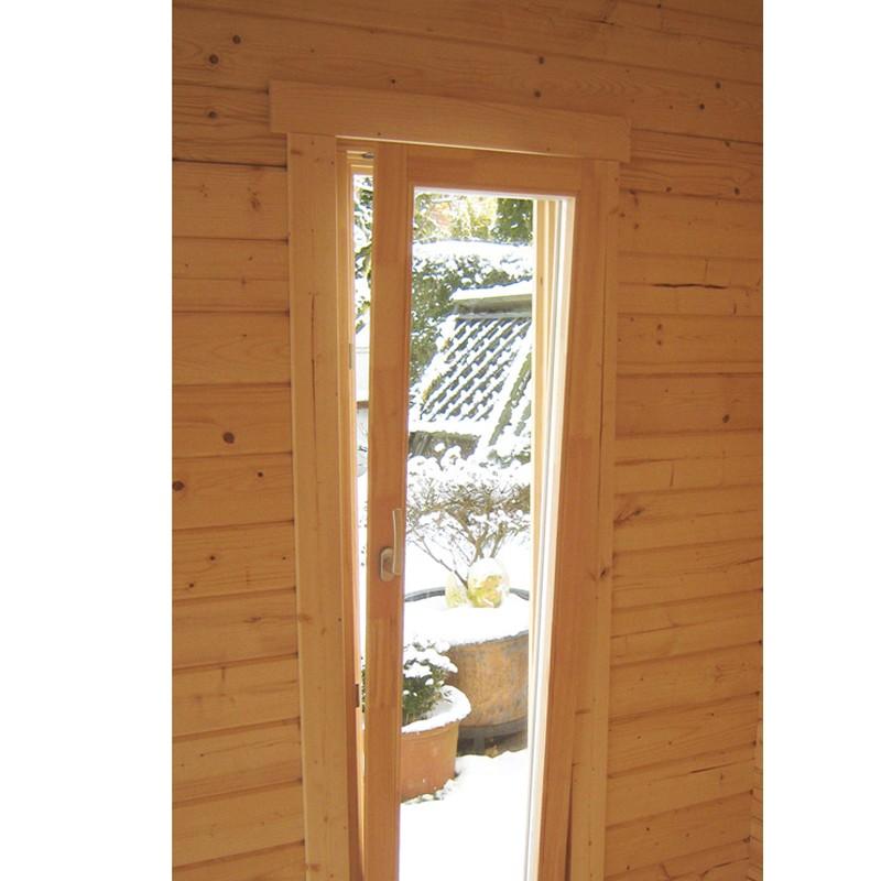 Wolff Finnhaus Holz-Gartenhaus 5-Eck-Holz-Gartenhaus Maria 40-A - 44 mm mit roten  Holz-Gartenhaus Dachschindeln und schwarze Dachhaube