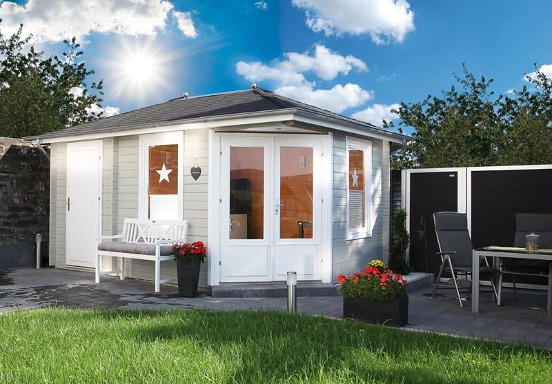 Wolff Finnhaus Holz-Gartenhaus 5-Eck-Holz-Gartenhaus Anna 40 mm A/2  mit grünen Holz-Gartenhaus Dachschindeln