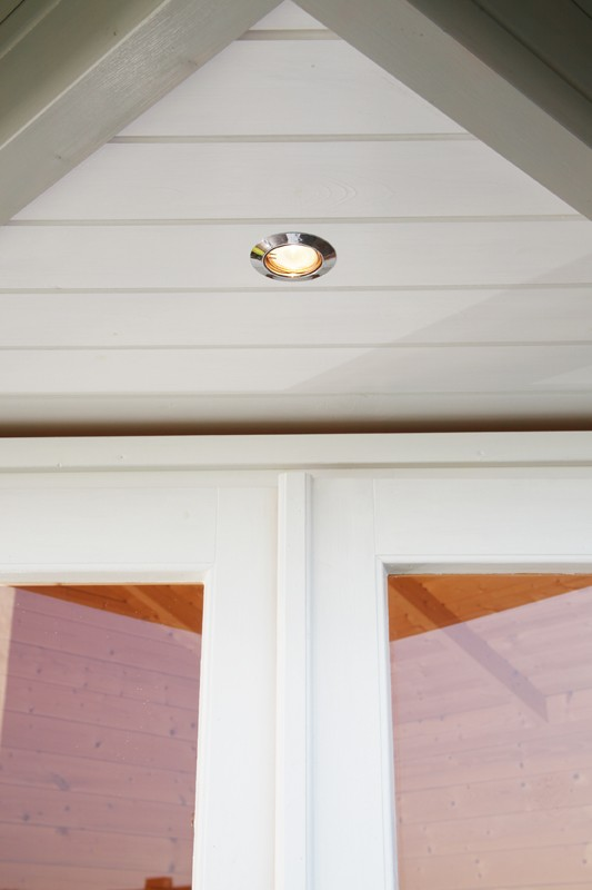 Wolff Finnhaus Holz-Gartenhaus 5-Eck-Holz-Gartenhaus Anna 40 mm A/1  mit grünen  Holz-Gartenhaus Dachschindeln