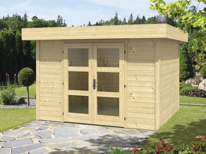 Wolff Finnhaus 28mm Holz-Gartenhaus Calais mit Flachdach - naturbelassen
