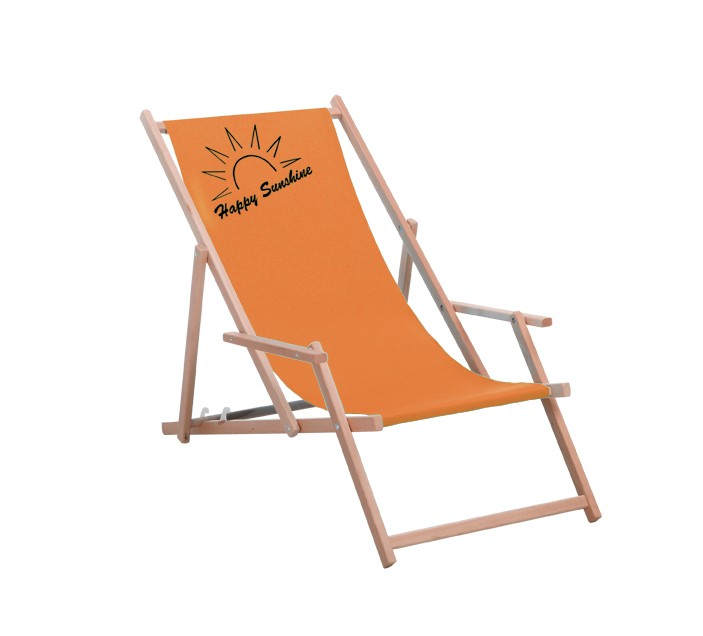 Best Holz-Liegestuhl Happy Sunshine orange