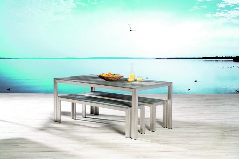 Best Aluminium Sitzgruppe Seattle 2 Bänke + Tisch silber/anthrazit