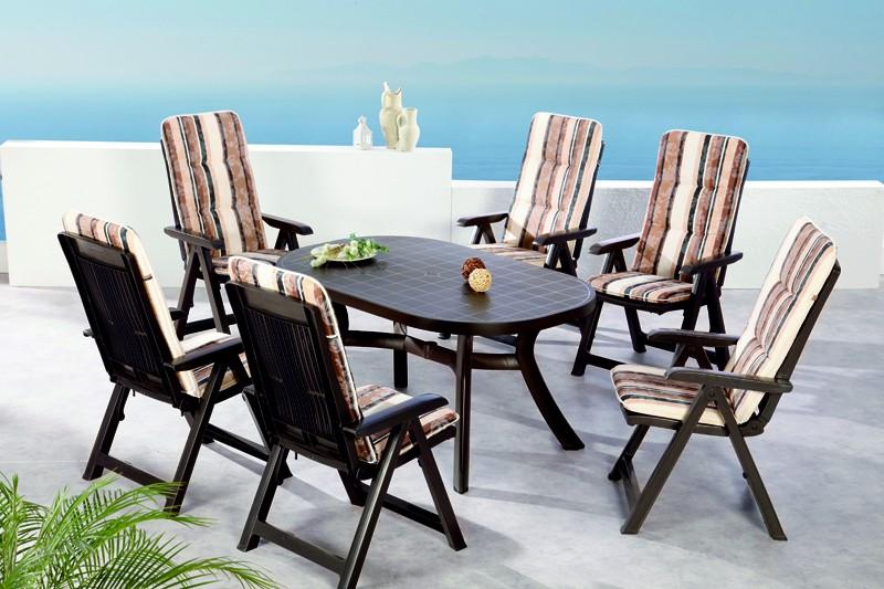 Best Sitzgruppe Santiago 6 Sitze mit Polster + Tisch braun