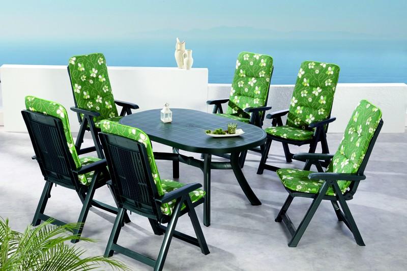 Best Sitzgruppe Santiago 6 Sitze mit Polster + Tisch grün