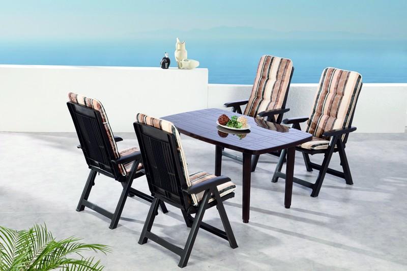 Best Sitzgruppe Santiago 4 Sitze mit Polster + Tisch braun