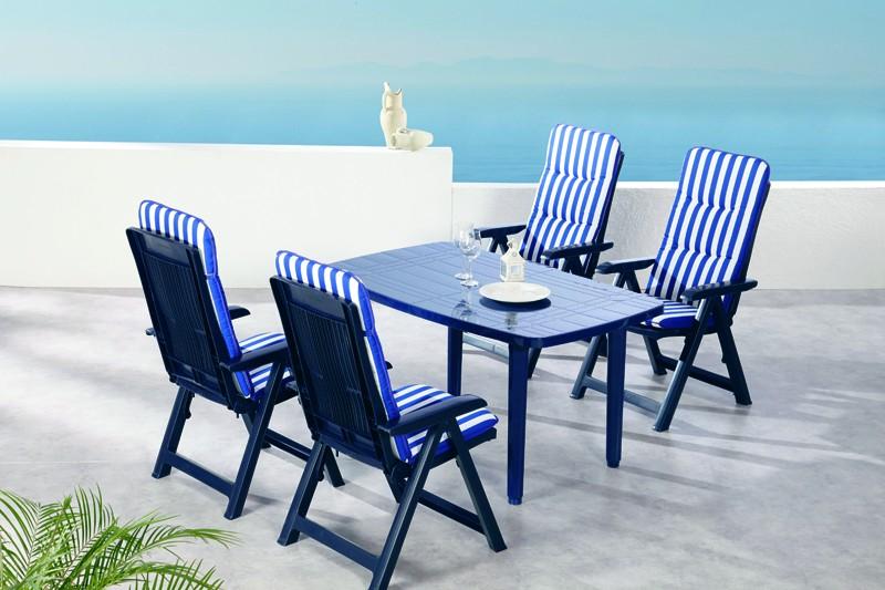 Best Sitzgruppe Santiago 4 Sitze mit Polster + Tisch blau