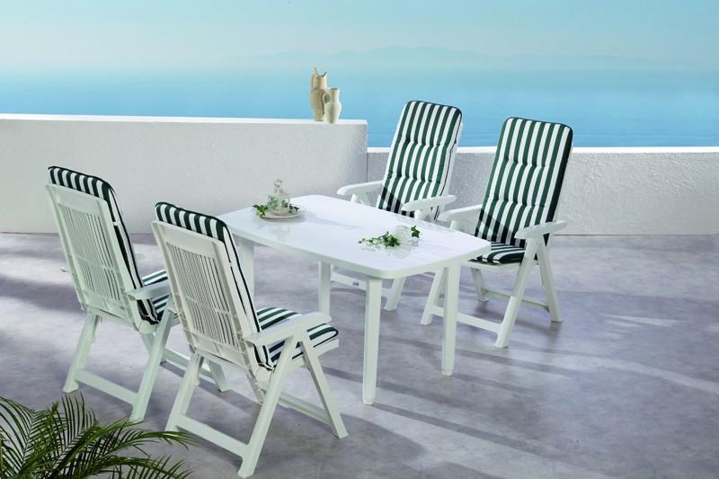 Best Sitzgruppe Santiago 4 Sitze mit Polster + Tisch weiß