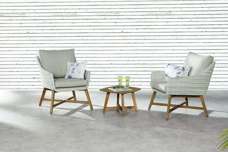 Best Gartenmöbel Paterna Rattan-Teak Balkon-Set - 3-teilig