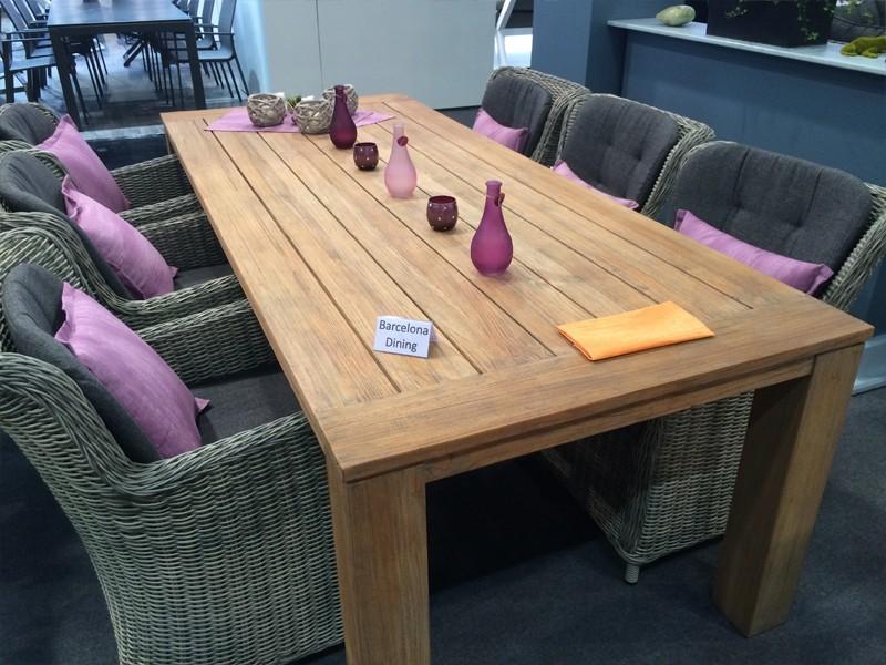 Best 9-tlg. Dining-Essgarnitur Gruppe Barcelona und Teak-Tisch Moretti