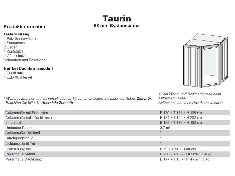 Karibu Heimsauna Taurin (Eckeinstieg) ohne Zubehör Kein Kranz 68 mm Systemsauna