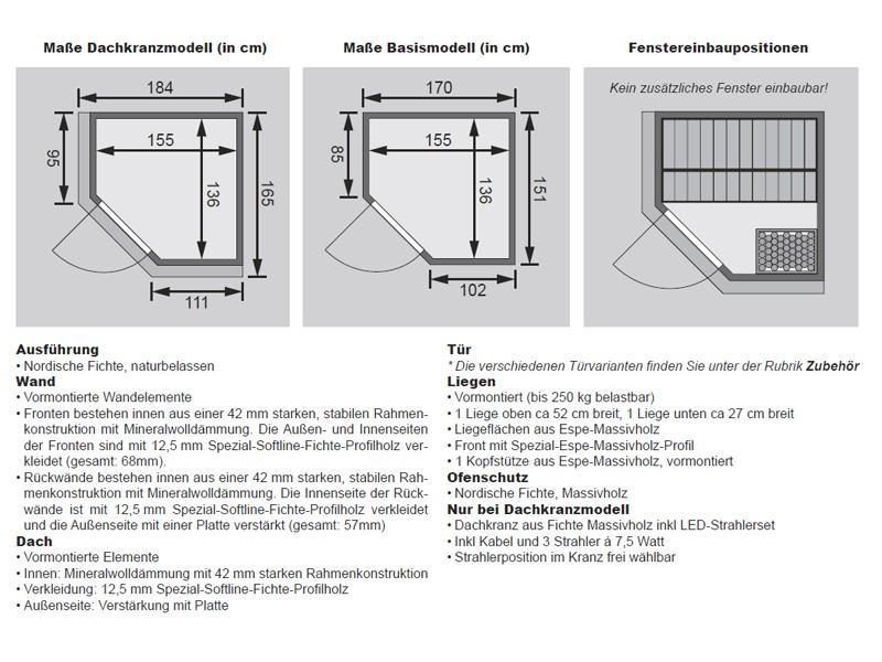 Karibu Heimsauna Taurin (Eckeinstieg) Ofen 9 kW Bio externe Strg easy mit Dachkranz 68 mm Systemsauna