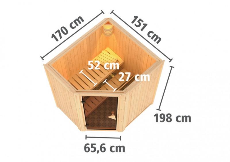 Karibu 68mm Systembausauna Taurin Eckeinstieg mit Graphit Ganzglastüre - ohne Dachkranz