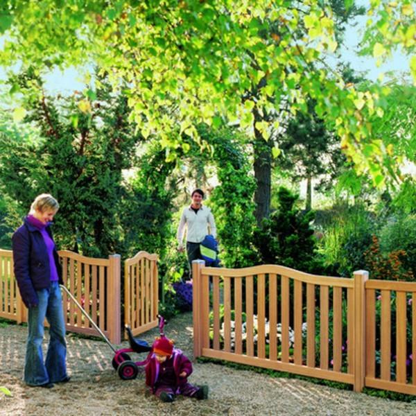 TraumGarten Vorgartenzaun Hartholz Raja Rechteck naturbelassen - 179 x 90 cm