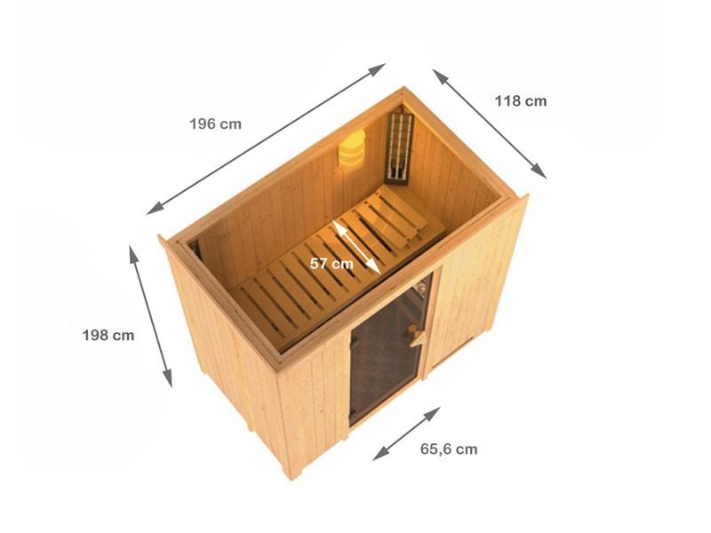Karibu Heimsauna Variado( Fronteinstieg) Ofen 9 kW Biokombi  externe Strg easy mit Dachkranz 68 mm Systemsauna