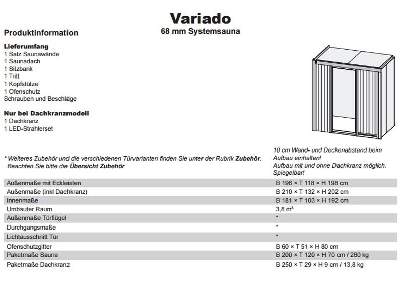 Karibu Heimsauna Variado( Fronteinstieg) Ofen 9 kW integr. Strg  Kein Kranz 68 mm Systemsauna