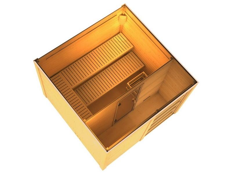 Karibu Systemsaunahaus 38 mm Saunahaus Cuben ohne Zubehör  Gartensauna - naturbelassen