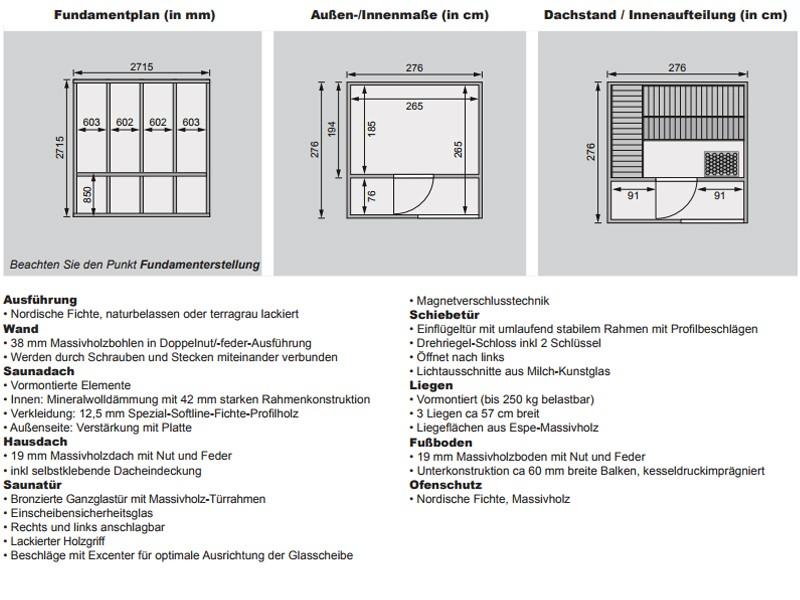 Karibu Systemsaunahaus 38 mm Saunahaus Cuben Ofen 9 KW externe Strg easy  Gartensauna - naturbelassen
