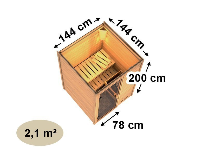 Woodfeeling 38 mm Massiv Sauna Svenja Classic (Fronteinstieg) - ohne Dachkranz mit klarglas Ganzglastür