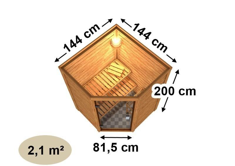 Woodfeeling 38 mm Massiv Sauna Franka klarglas Ganzglastür (Eckeinstieg) ohne Dachkranz