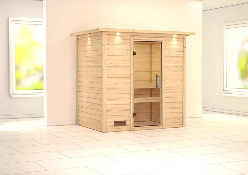 Woodfeeling 38 mm Massiv Sauna Sonja klarglas Ganzglastür (Fronteinstieg) mit Dachkranz - klarglas Türe