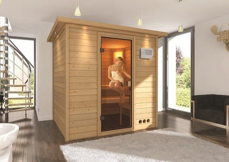 Woodfeeling 38 mm Massiv Sauna Anja Classic (Fronteinstieg) mit Dachkranz und klarglas Ganzglastür