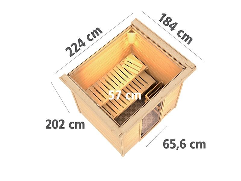 Woodfeeling 38 mm Massivholzsauna Anja - Fronteinstieg - Ganzglastür klar - mit Dachkranz