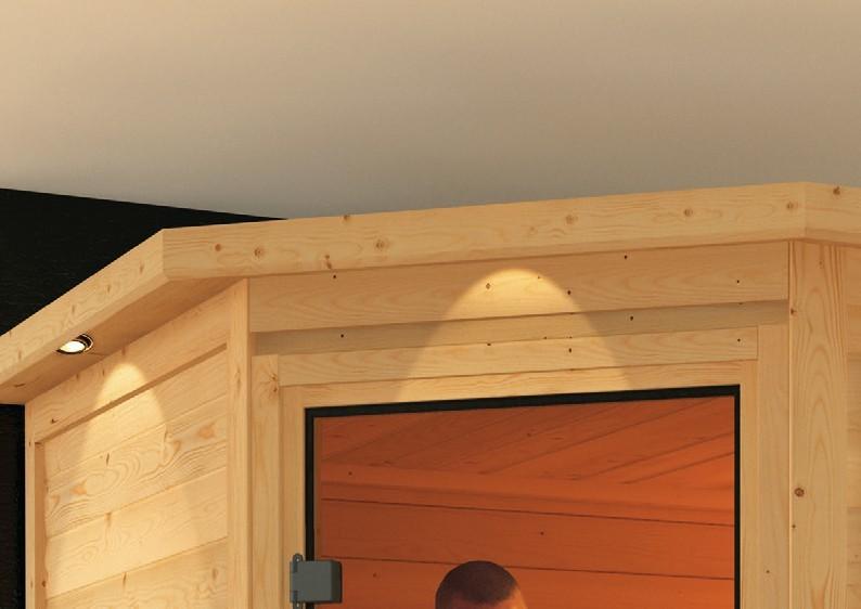 Woodfeeling 38 mm Massiv Sauna Nina Classic (Eckeinstieg) mit Dachkranz und graphitfarbener Ganzglastür