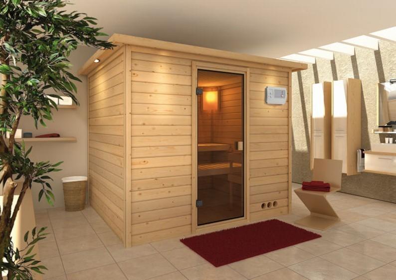 Woodfeeling 38 mm Massiv Sauna Karla Classic (Fronteinstieg) mit Dachkranz und Energiespartür