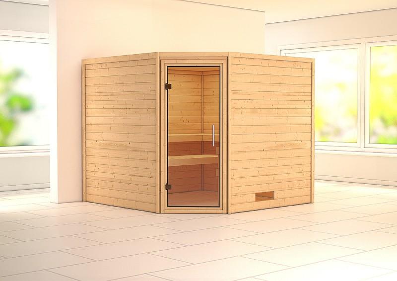 Woodfeeling 38 mm Massiv Sauna Leona Modern (Eckeinstieg) ohne Dachkranz mit klarglas Ganzglastür