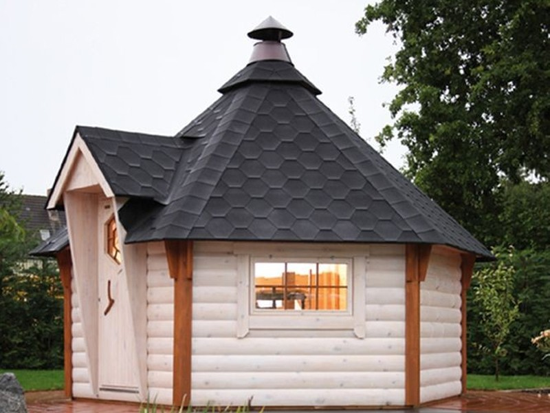 Wolff Finnhaus Grillkota 9 de luxe - inkl. Dachschindeln in schwarz - 376x325,6 cm