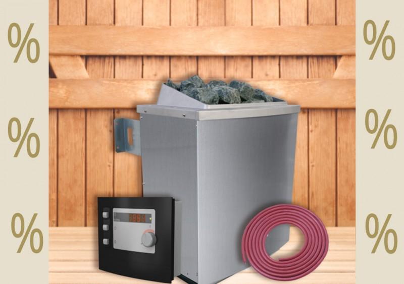 Karibu Aktions Saunaofen 9 kW finnisch mit moderner Außensteuerung inkl. Silikonkabel Set und Saunasteinen 18 kg