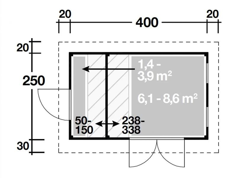 Wolff Finnhaus Holz-Gartenhaus Varianta 40 2-Raum Gartenhaus Flachdach 400x250 cm