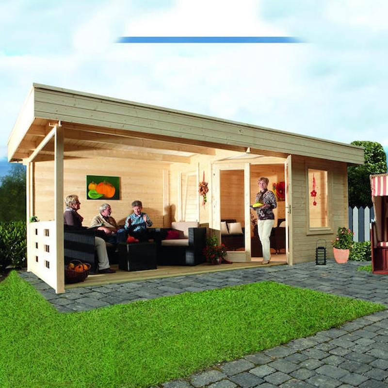 Wolff Finnhaus Holz-Gartenhaus Nina 28-B - 5-Eck-Holz-Gartenhaus mit  Terrasse